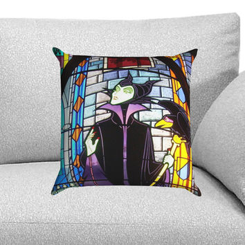 Maleficent in Stained Glass Custom Pillow Case for One Side and Two Side
