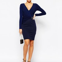 Lipsy Plunge Pencil Dress With Cinched Waist Detail at asos.com