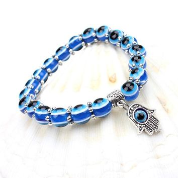 Simple Evil Eye hand religious charm blue beads Lucky bracelet Best Match Turkish bracelet