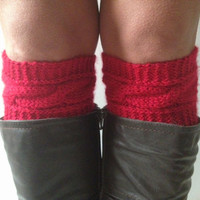 Red Boot Liners Boot Cuffs Handknit Cabled Boot Toppers