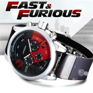 SINOBI Men's Sports Watches Red Dial Man Full Steel Chronograph Quartz Wrist Watch New Fast & Furious Relojes