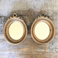 Mirror 2 Small Wall Mirrors Ornate  Mirrors French Country Mirrors Hollywood Regency Gold Mirror Grouping Hanging Mirrors