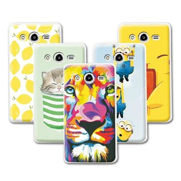 Fruit Art Print Painting Cat Minions Banana Prefect Cases For Samsung Galaxy Core 2 G355H Case Cover For Samsung G355h+Free Gift