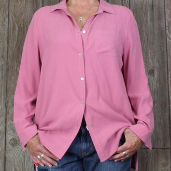 Nice New J Jill Blouse L XL size Soft Pink Womens Top Career Casual Loose Fit