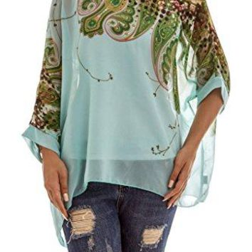 Womens Tops Beach Cover up Off Shoulder Loose Batwing Sleeve Blouse