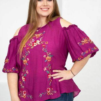 da4217dab6b53 Floral Embroidered Off Shoulder Tunic Top