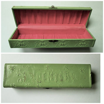Antique Necktie Box jewelry box jewel case Victorian Edwardian celluloid box shabby chic green salmon pink vintage 1900s vanity dresser