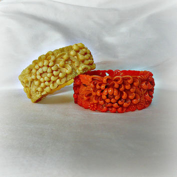 Art Deco Celluloid Bangle Bracelets, Carved Celluloid Coral Yellow Bracelets, Celluloid Bangle Pair circa 1930's