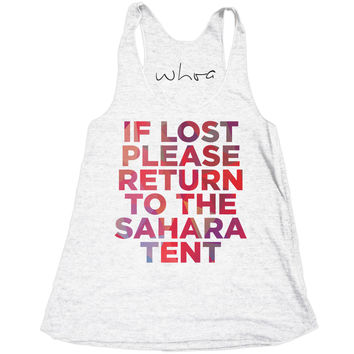 If Lost, Please Return to the Sahara Tent Tank