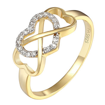 Infinity Love Knot Heart CZ Sterling Silver Promise Ring New 14k Gold Finish