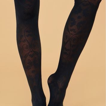 Semi-Sheer Tights Detailed Blue