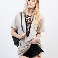 Lace-Up Deep V Tee