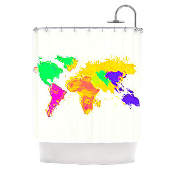"Oriana Cordero ""My World"" Rainbow Map Shower Curtain"