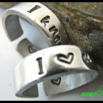 Custom Set of two rings I love You I know  Lovely by keepWEARME