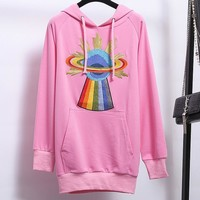 GUCCI planets embroidery Couple Sweatshirt  Hooded Coat Long Sleeve Loose Top Hoodies