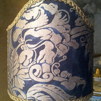 Clip-On Shield Shade Fortuny Fabric Dandolo in  Midnight Blue & Silvery Gold Half Lampshade - Handmade in Italy