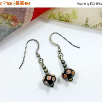 Vintage Polka Dot Bead Sterling Silver Finding Earrings Peach and Pink Dots on Black Ceramic Beads Dangles Earring Hooks Whimsical