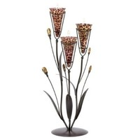 Gifts & Decor Leopard Lily Triple Candle Holder Centerpiece Stand