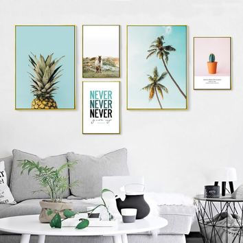 Modern Nordic Landscape Inspiring Canvas Paintings Pineapple Poster Print Wall Art Pictures for Living Room Home Office Decor