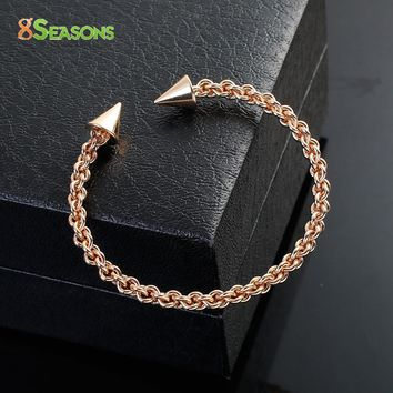 "8SEASONS Copper Braided Open Cuff Bangles Bracelets Gold color Silver Tone Color Arrowhead 19cm(7 4/8"") long, 1 Piece"