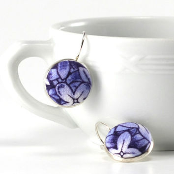 Flowers Dangle Earrings, Delft Blue Porcelain, Silver Toned Leverback Earrings, Blue Hydrangea, Fabric Covered Buttons, Jewelry