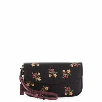 Coach 1941 Floral-Print Leather Wristlet Clutch Bag | Neiman Marcus