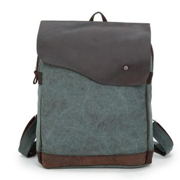 Retro Square Zipper Large Capacity Rucksack Satchel Canvas School Bag Travel Backpack