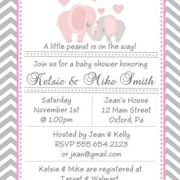 10 Pink Elephant Baby Shower Invitations