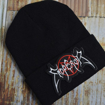 Emperor King Thrash Metal Punk Grunge Rock Black Street Skate Knit Ski Unisex Beanie Hat Embroidered Patch Patches