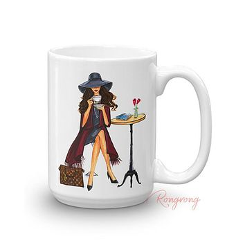 LADY LATTE MUG (BRUNETTE)