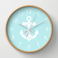 Love Hope Anchor Turquoise Blue Wall Clock by Beautiful Homes