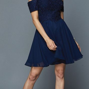 Navy Blue Homecoming Short Dress with Cold-Shoulder