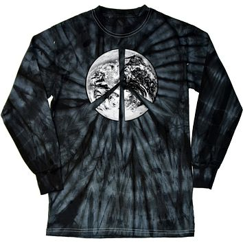 Buy Cool Shirts Peace T-shirt Earth Satellite Symbol Tie Dye Long Sleeve