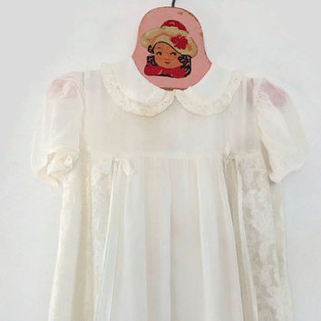 Vintage Christening Dress-Baby-Long White Dress-Lace-Sheer Silk-Baptism-Handmade Heirloom-Doll Clothes-Ribbons