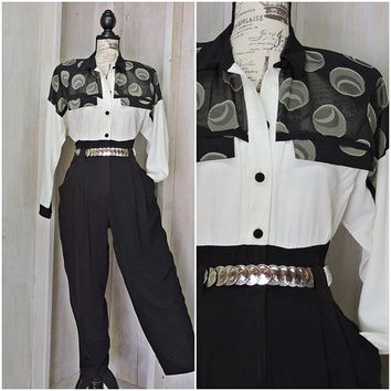 Classy 80s jumpsuit / white / black / high waisted / 80s party / tapered legs / sheer / tailored fit / size S / 5 / 6
