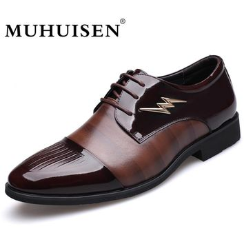 MUHUISEN Hot Sale Men Dress Formal Shoes Fashion Wedding Genuine Leather Business Shoes