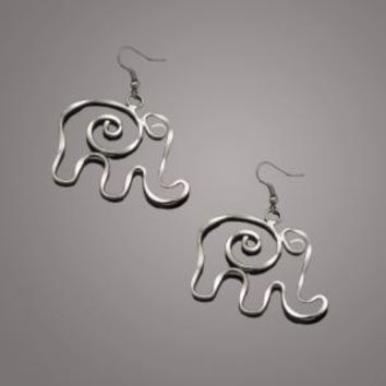Silver Plated Elephant Earring
