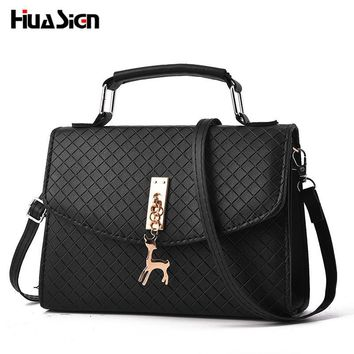 Huasign Women shoulder bags messenger bag women pu leather small hand bag famous brand crossbody bag With Deer Appliques Shell