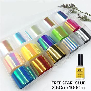 1 Box Holographic Nail Foil Set 2.5*100cm Transparent AB Color Transfer Sticker Manicure Nail Art Decals Included Star Glue