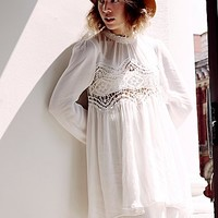 Free People Womens Mock Neck Lace Pieced Tunic
