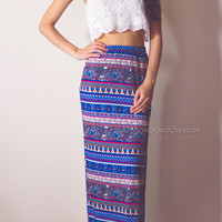 Day Dreamer Maxi Skirt - Blue