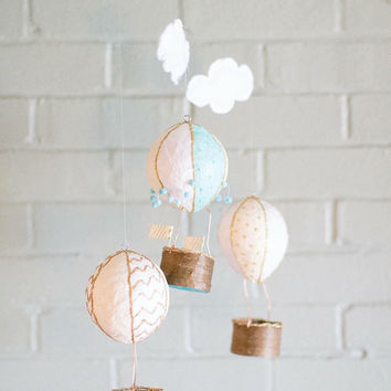 Baby Mobile, Hot Air Balloon Mobile, Travel Theme Nursery, Baby Shower Gift Girl, Nursery Decor, Crib Mobile, Baby Boy Mobile, Crib Mobile