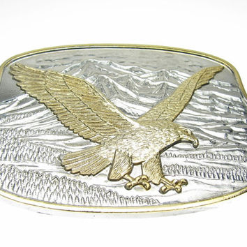 American Eagle 24K Gold Silver Plated Belt Buckle
