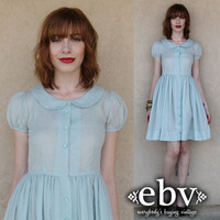 Vintage 50s Blue Gingham Checker Puff Sleeve Full Skirt Mini Day Dress S M