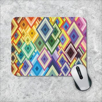 Geometric Mousepad, Rhombes Mouse Pad, Custom Mousepad, Colorfull Rhombes Mouse Mat, Personalized Computer Accessories, Custom Mouse Pad
