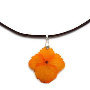 Orange Hydrangea pendant in brown leather cord Necklace. Real flower pendant.  Eco friendly gift for her. Dried hydrangrea necklace