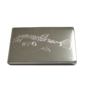 Silver Toned Etched Puffer Fish Magnet