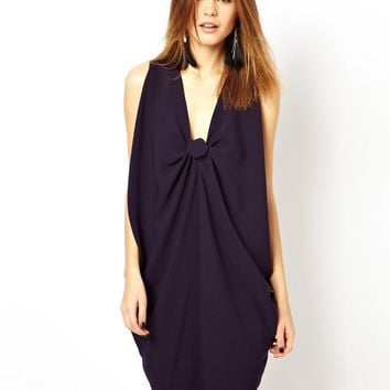 ASOS Shift Dress With Knot Front Detail