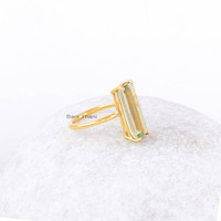 Green Amethyst Quartz Ring-Micron Gold Plated Ring-Baguette 6x18 mm Ring-Gemstone Ring-Sterling Silver Ring-Silver Ring-Quartz Ring
