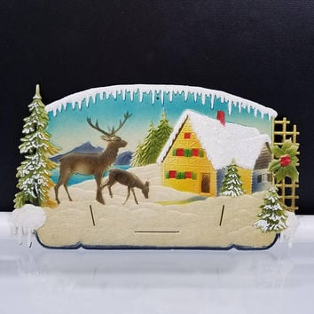 Winter Scene Calendar Top Embossed German Die Cut Sign Wall Plaque Vintage 1950s Western Germany Marked Numbered Calendar Art